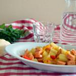 Wurstel con peperoni e patate